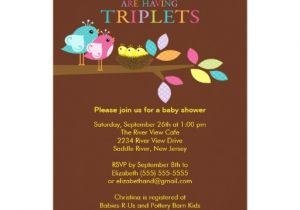 Baby Shower Invitations for Triplets Baby Birds Nest Triplets Baby Shower Invitations
