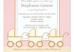 Baby Shower Invitations for Triplets Trio Carriage Triplet Girl Baby Shower Invitation 5 25