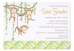 "Baby Shower Invitations for Triplets Triplets Baby Shower Invitation Monkeys 5"" X 7"