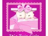 "Baby Shower Invitations for Twin Girls Twin Girls Pink Baby Shower Invitations 5 25"" Square"