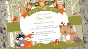 Baby Shower Invitations Free Shipping Woodland Shower forest Animals Baby Shower Invites