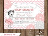 Baby Shower Invitations On Sale Custom Printed Vintage Floral Ballerina Baby Shower