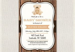 Baby Shower Invitations Teddy Bear theme Baby Shower Invitation Teddy Bear theme Wooden Rustic Baby