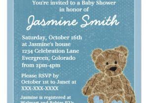 Baby Shower Invitations Teddy Bear theme Blue theme Teddy Bear Baby Shower Invitations