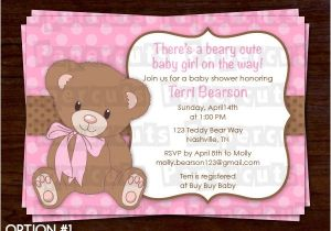 Baby Shower Invitations Teddy Bear theme Printable Diy Pink and Brown Teddy Bear theme Personalized