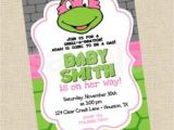 Baby Shower Invitations Turtle theme Baby Shower Invitation Cute Ninja Turtle Show and
