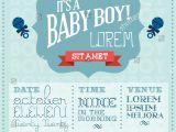 Baby Shower Invitations Vector Baby Boy Baby Shower Invitation Card Stock Vector