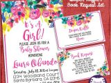 Baby Shower Invitations with Diaper Raffle and Book Request Baby Shower Invitation Watercolor Flowers Invitation
