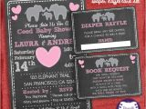 Baby Shower Invitations with Diaper Raffle and Book Request Elephant Baby Shower Invitation Set Coed Couples Shower