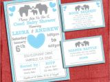 Baby Shower Invitations with Diaper Raffle and Book Request Elephant Baby Shower Invitation theme Coed Couples Baby