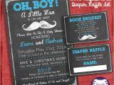 Baby Shower Invitations with Diaper Raffle and Book Request Mustache Baby Shower Invitation Set Invite Diaper