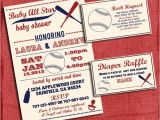 Baby Shower Invitations with Diaper Raffle and Book Request Printable Baby Shower Baseball themed Invitation Set