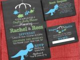 Baby Shower Invitations with Diaper Raffle and Book Request Printable Dinosaur Baby Shower Invitation Set Invite