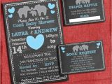 Baby Shower Invitations with Diaper Raffle and Book Request Printable Elephant theme Coed Couples Baby Shower Set