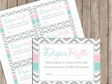 "Baby Shower Invitations with Diaper Raffle Diaper Raffle Pink and Blue Gender Reveal ""diaper Raffle"