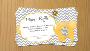 Baby Shower Invitations with Diaper Raffle Elephant Baby Shower Diaper Raffle Ticket Diaper Raffle Card
