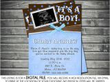 Baby Shower Invitations with Ultrasound Picture Boy Baby Shower Invite Blue Brown Shower Invite Polka