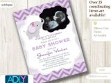 Baby Shower Invitations with Ultrasound Picture Girl Elephant Ultrasound Baby Shower Invitation for