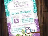Baby Shower Invite Copy Purple & Teal Owl Baby Shower Invitation Digital Jpg
