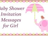 Baby Shower Invite Message Baby Shower Invitation Messages for Girl