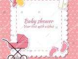 Baby Shower Invite Text Baby Shower Girl Invitation Card Place Stock Vector