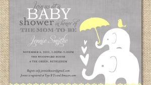 Baby Shower Invites with Elephants Baby Shower Invitation Elephant Yellow and Grey Printable