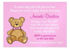 Baby Shower Magnet Invitations Teddy Bear Pink Baby Shower Magnetic Invitation