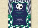 Baby Shower soccer Invitations Chevron and Polka Dot soccer Baby Shower Invitation