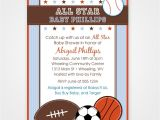 Baby Shower Sports Invitations Sports themed Baby Shower Invitation Card Design with