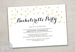 Bachelorette Party Invitation Templates Microsoft Printable Gold Black Bachelorette Party Invite Template Gold