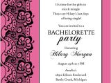 Bachelorette Party Invite Wording Black Lace and Pink Bachelorette Party Invitation