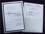 Back Pocket Wedding Invitations Dark Purple Silver Large Script Text Modern Swirls