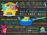 Back to School Pool Party Invitation Monster Back to School Pool Party Monsters by