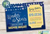 Backyard Movie Party Invitation Backyard Movie Night Birthday Invite Girl or Boy Birthday