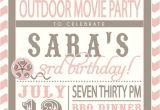 Backyard Movie Party Invitation Movie Party Outdoor Movie Invitation