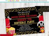 Backyard Movie Party Invitation Under the Stars Outdoor Movie Party Movie Birthday Party