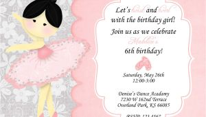 Ballerina Birthday Invitation Template Free Ballerina Birthday Invitation