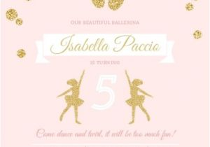 Ballerina Party Invites Pink and Gold Ballerina Birthday Party Invitation Kids
