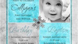 Baptism and Birthday Invitation 1st Birthday and Christening Baptism Invitation Sample