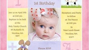 Baptism and Birthday Invitation Sample 1st Birthday and Christening Baptism Invitation Sample