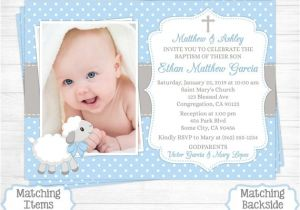 Baptism Invitations Costco Canada Lamb Baptism Invitation Boy First 1st Birthday Christening