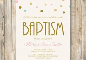 Baptism Invitations Etsy Baptism Invitation Pink Blue Gold Glitter by Lavenderarte