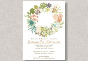 Baptism Invitations Etsy Baptism Invitationrustic Baptism Invitationfloral Wreath