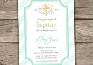 Baptism Invitations Etsy Mint Baptism Invitations Printed Coral Brunch