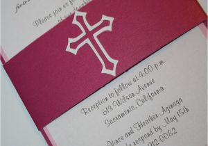 Baptism Invitations Etsy Pink Baptism Invitation with Cross Christening by