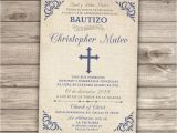 Baptism Invitations for Boy In Spanish Spanish Printable Baptism Christening Invitations Burlap Cross