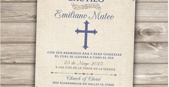 Baptism Invitations for Boy In Spanish Spanish Printable Baptism Christening Invitations Burlap