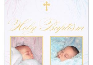 "Baptism Invitations for Twins Boy and Girl Boy and Girl Twins Baptism Invitation 5 25"" Square"