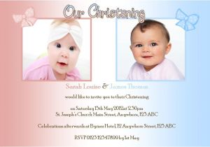 Baptism Invitations for Twins Boy and Girl Personalised Boy Girl Twins Christening Invitations