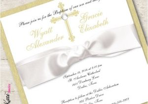 Baptism Invitations for Twins Boy and Girl Twin Baptism Invitation Christening Boy and Girl Gold